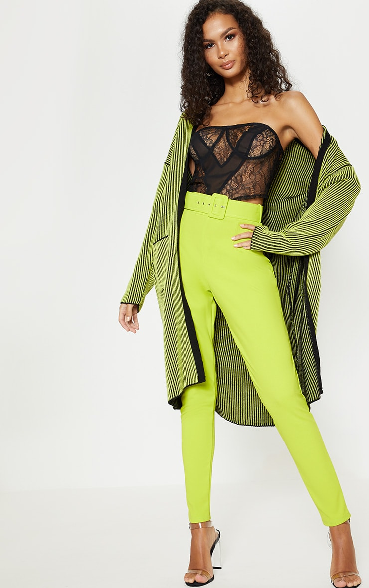 Lime Two Tone Knitted Cardigan  4