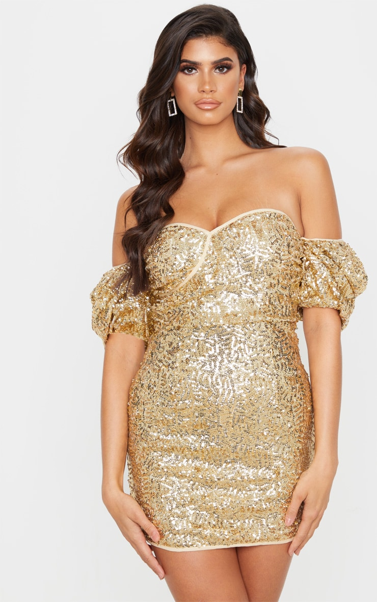 Gold Sequin Puff Sleeve Bardot Bodycon Dress 1