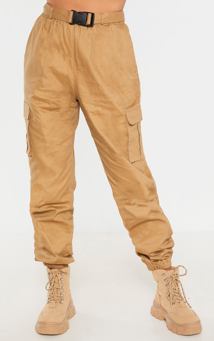 Taupe Utility Buckle Belt Joggers 2