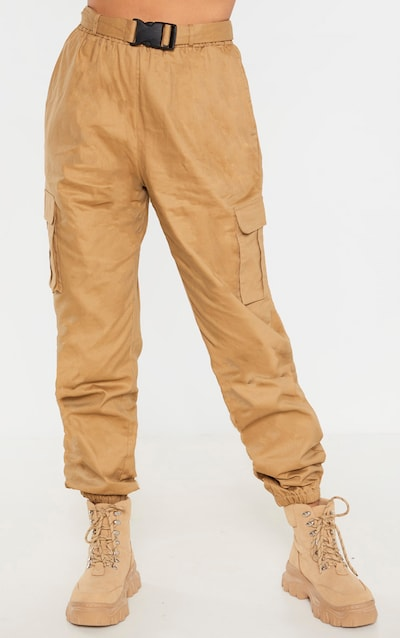 Taupe Utility Buckle Belt Joggers