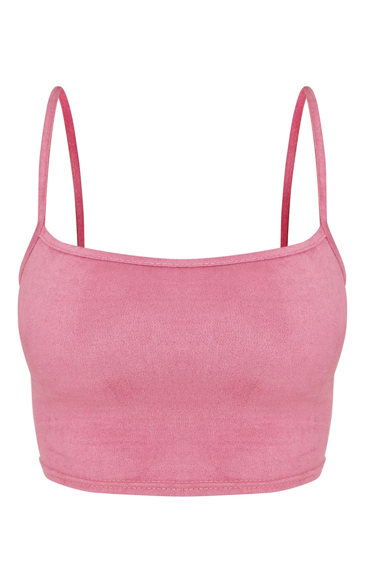 Shape Rose Faux Suede Strappy Crop Top 3