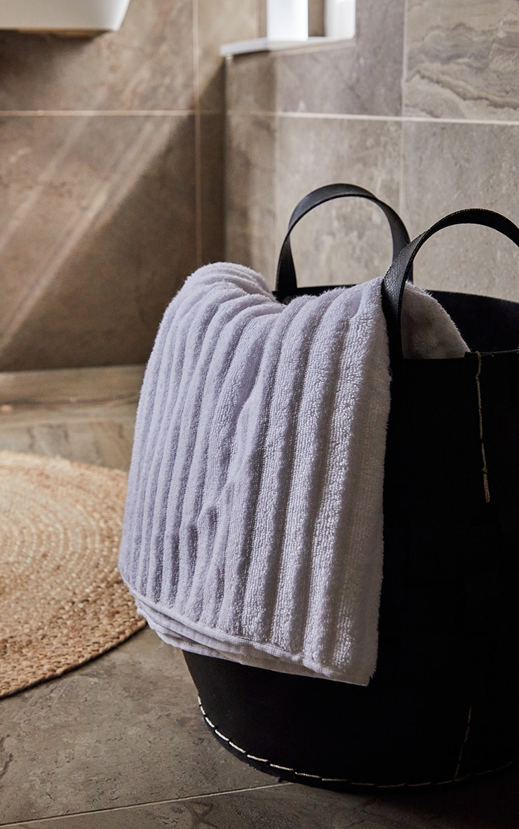 White Textured Ribbed Cotton Large Bath Towel  1