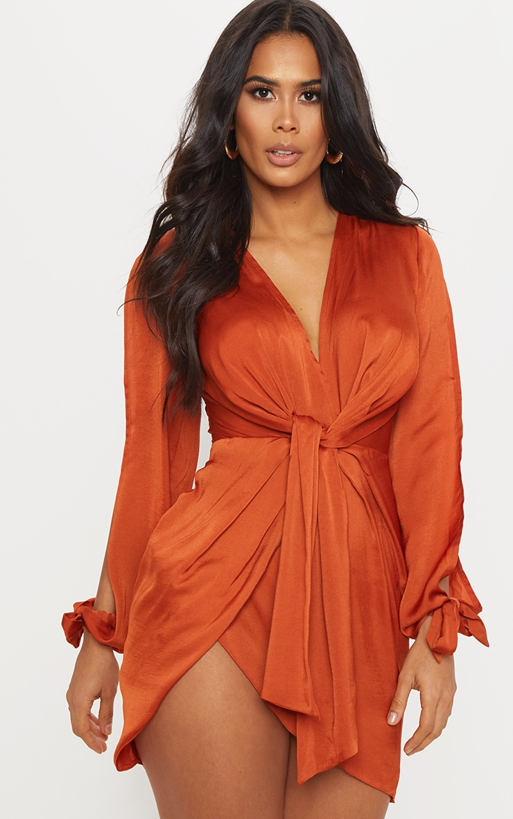 Rust Satin Twist Front Open Sleeve Wrap Dress 1