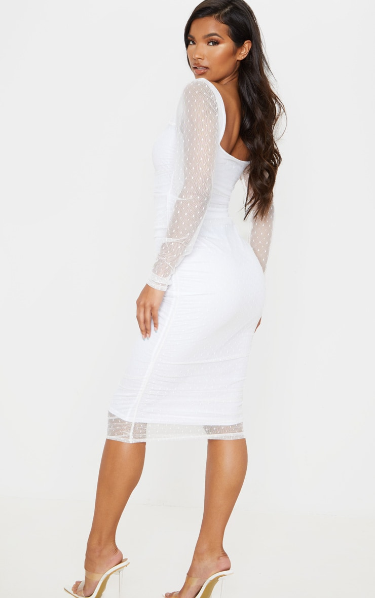 White Dobby Mesh Ruched Long Sleeve Midi Dress 2
