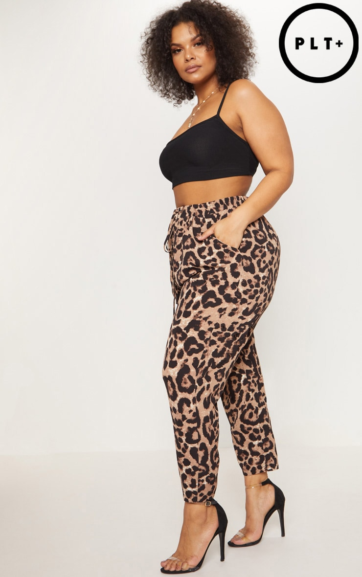 Plus Tan Leopard Print Casual Trousers