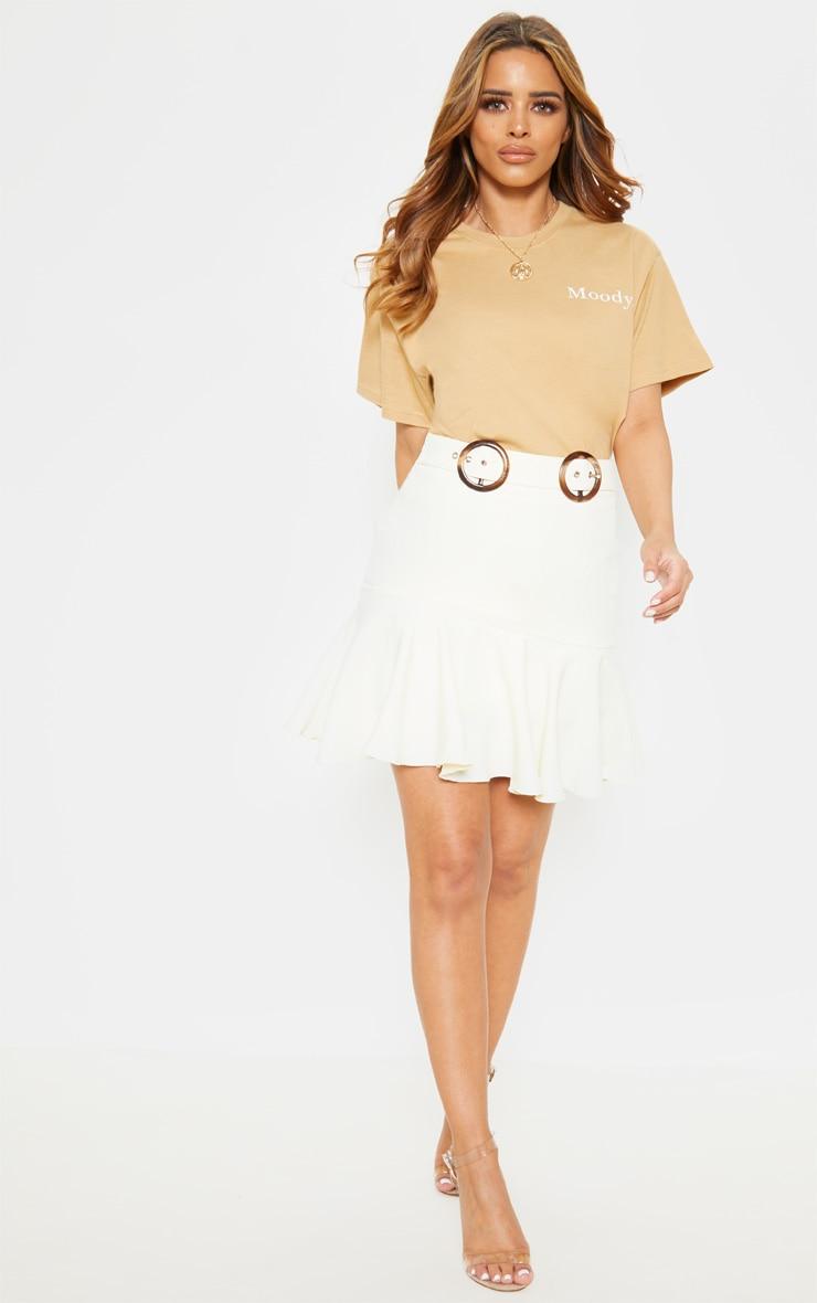 Petite White Peplum Hem Tortoise Belt Skirt 5