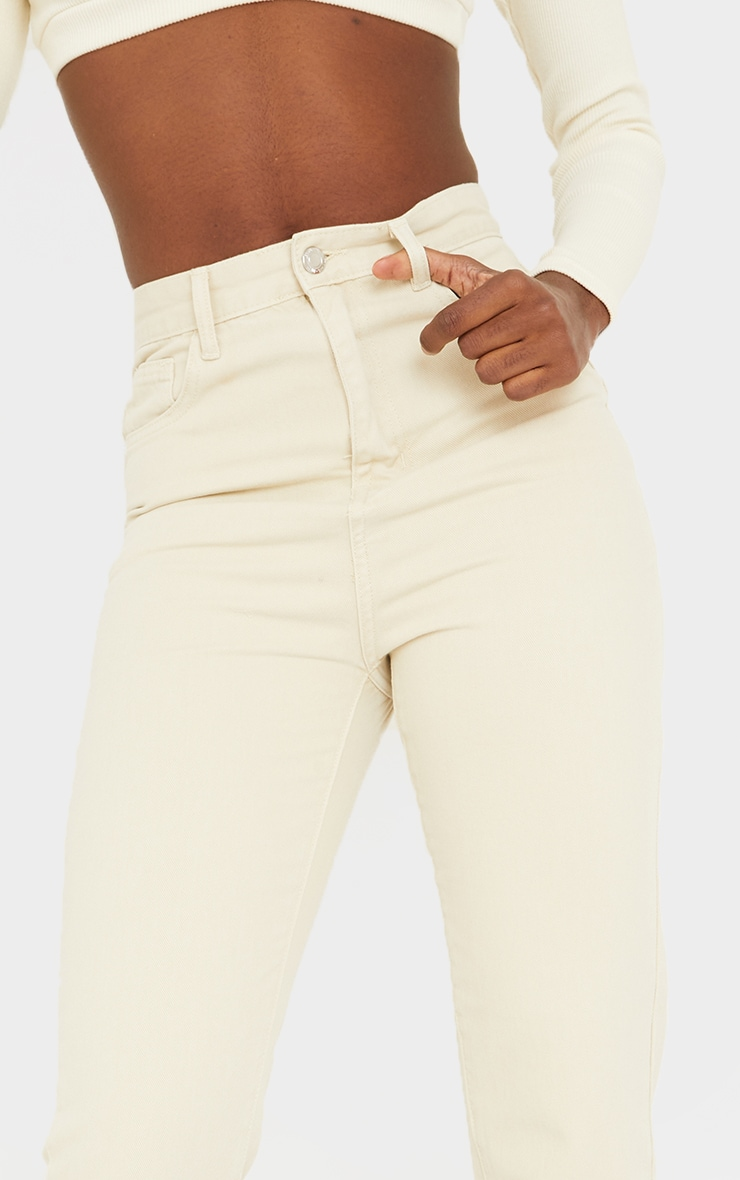 PRETTYLITTLETHING Tall Washed Stone Straight Leg Jeans 4
