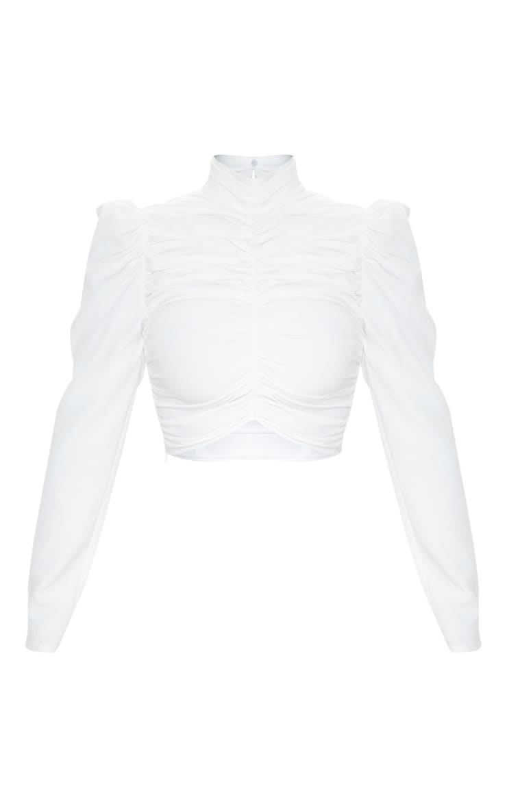 White Ruched High Neck Top 3