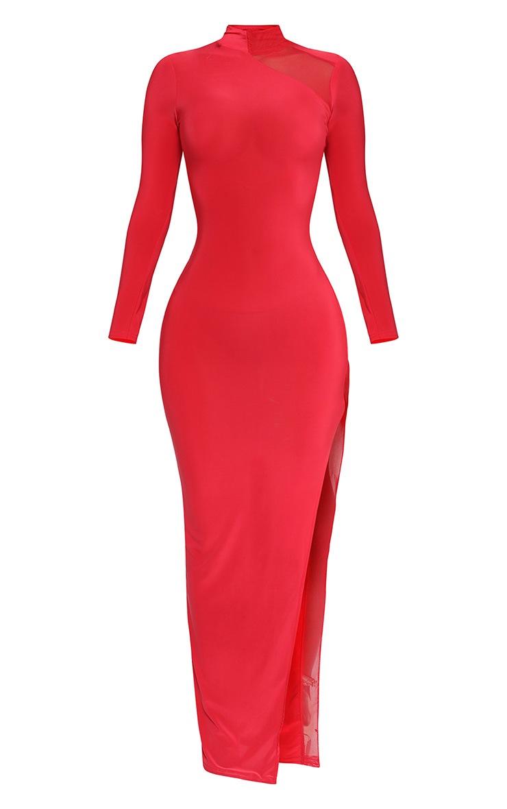 Shape Red Slinky Mesh Insert Maxi Dress 3