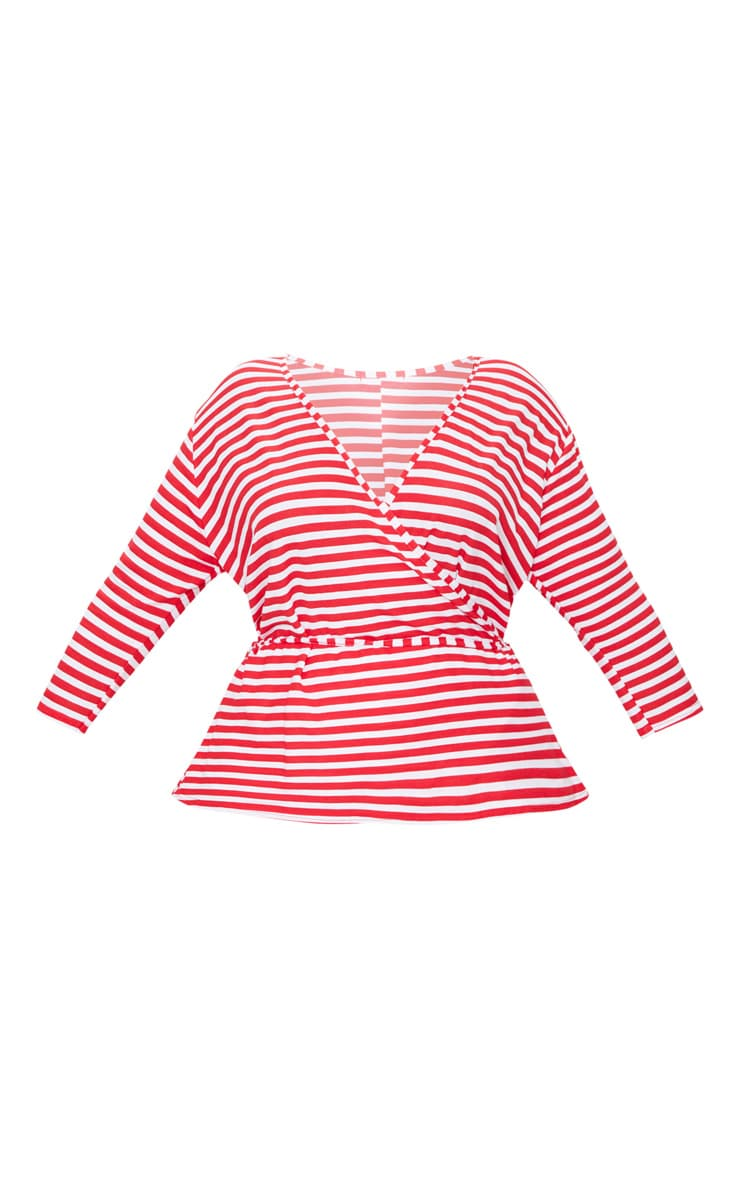 Plus Red Stripe Wrap Front Top 3