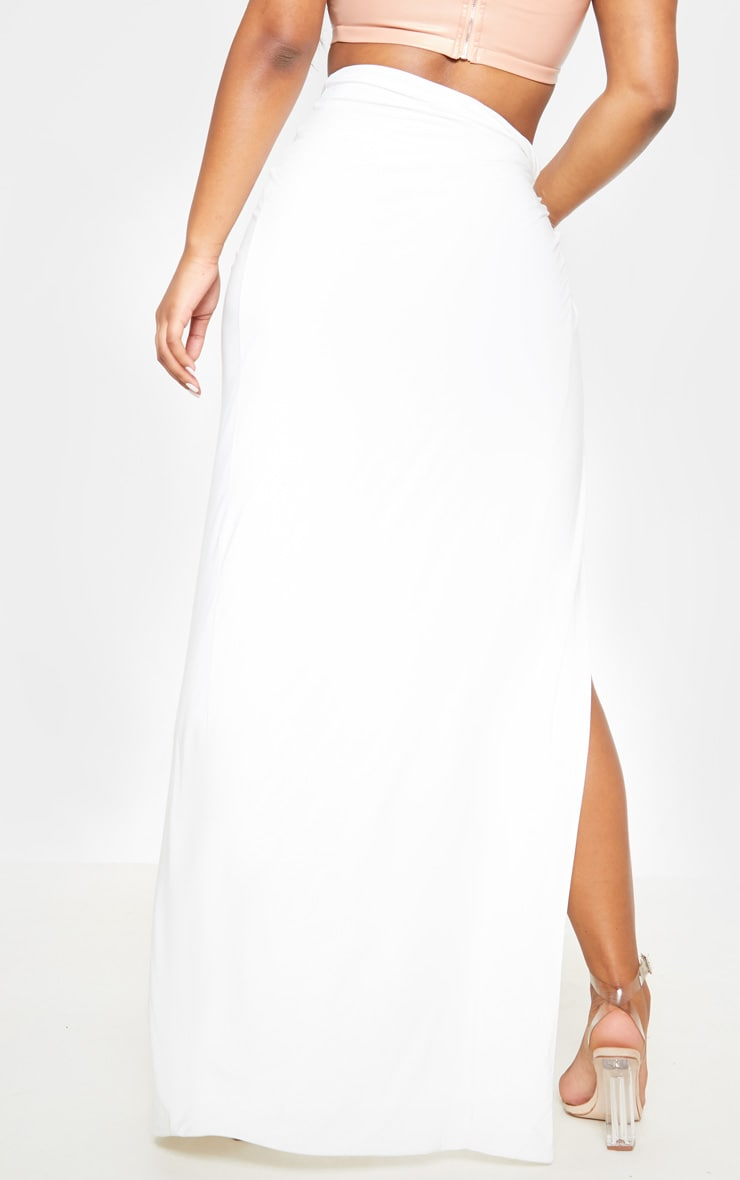 White Slinky Extreme Split Knot Front Maxi Skirt 5