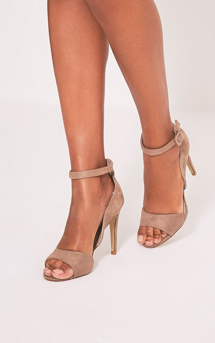 Baylie Stone Faux Suede Strappy Heeled Sandals 1