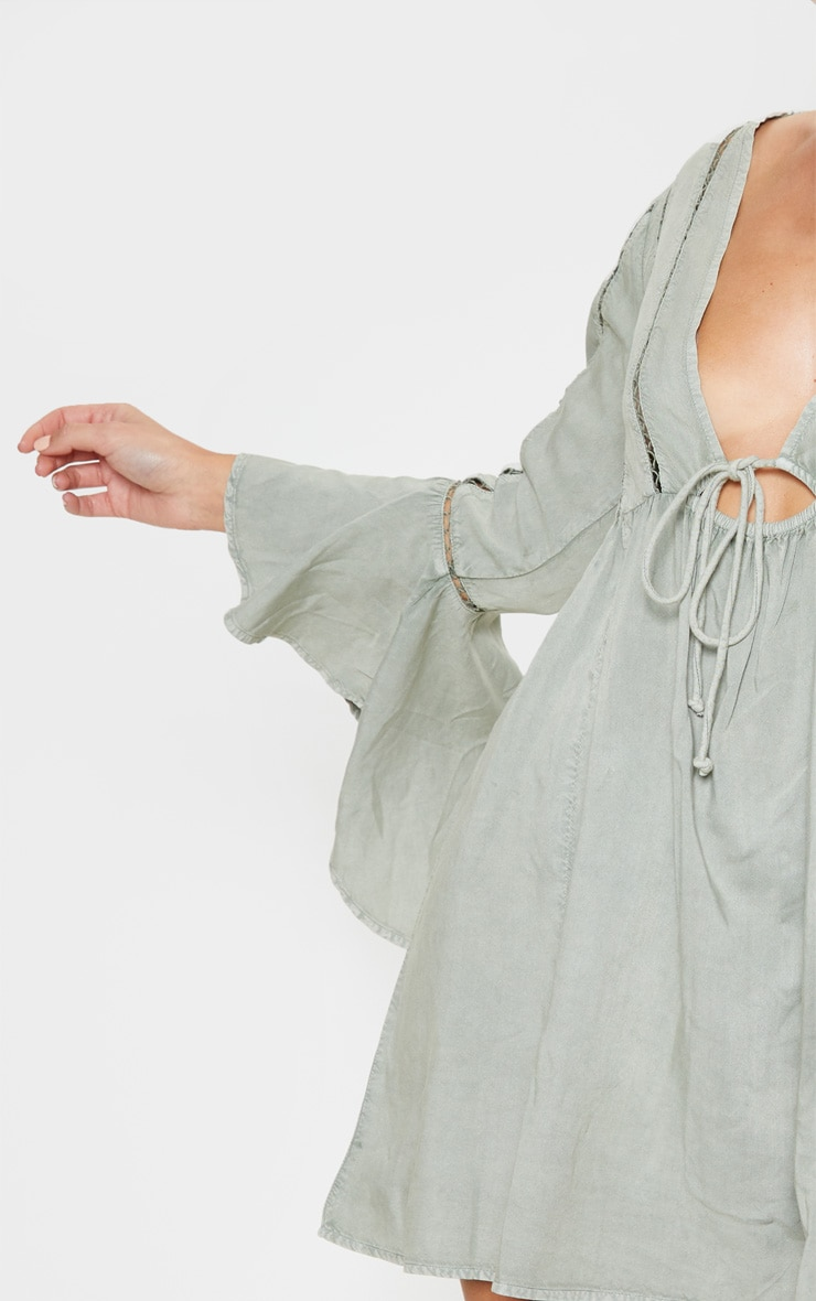 Pale Khaki Tie Front Frill Sleeve Beach Dress 5