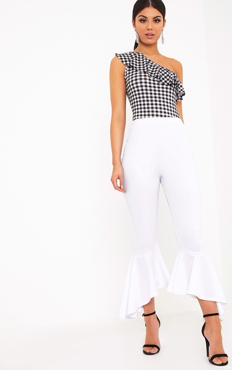 Lourdes White Asymmetric Flare Hem Trousers