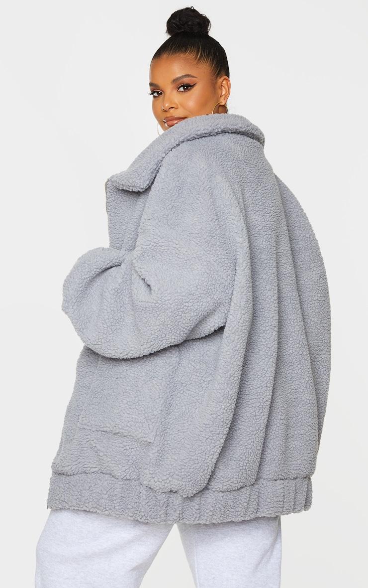 Plus Grey Oversized Borg Pocket Front Coat 2