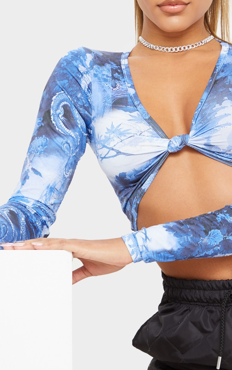 Blue Dragon Printed Twist Front Long Sleeve Crop Top 5
