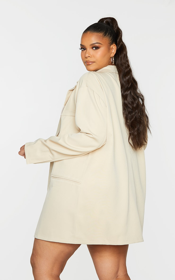 Plus Stone Relaxed Oversized Blazer 2