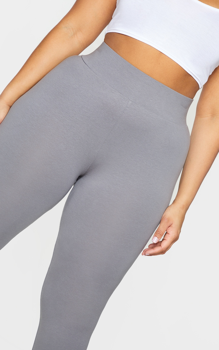 Basic Plus Charcoal Cotton Blend High Waisted Jersey Leggings 4