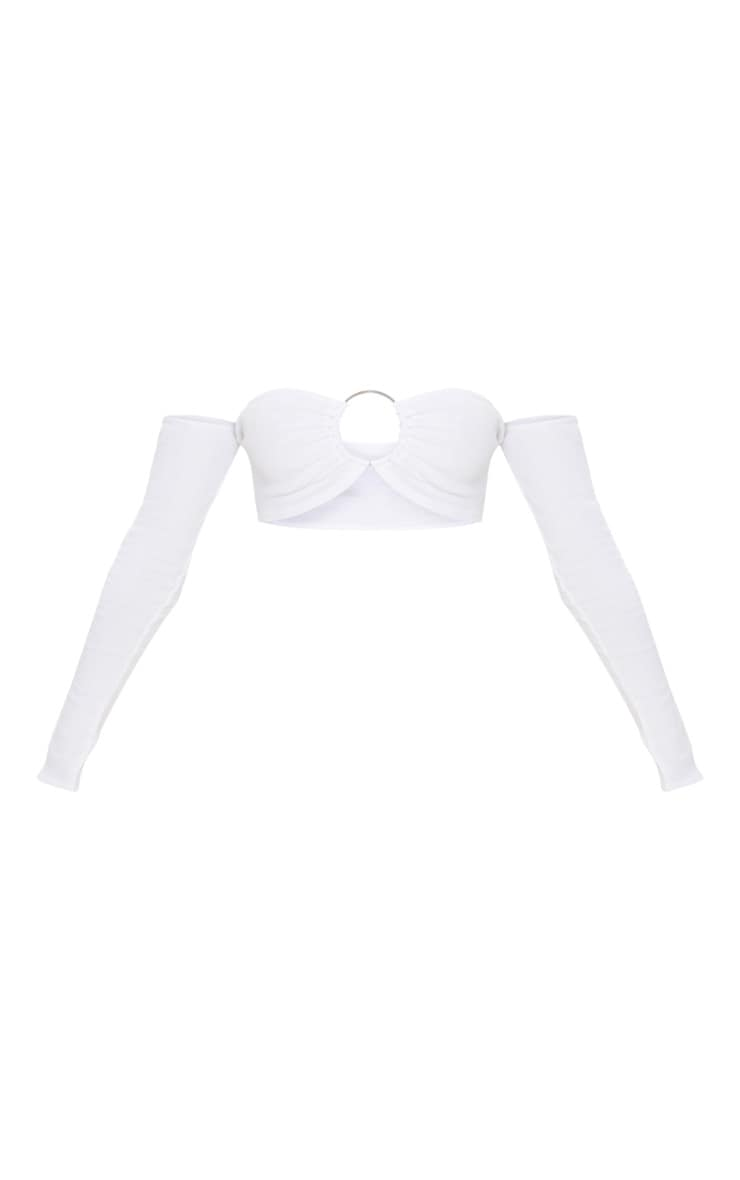 White Ribbed Long Sleeve Ring Crop Top 3