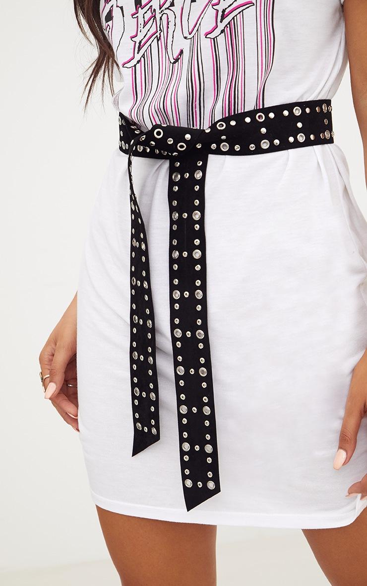 Black Faux Suede Studded Tie Waist Belt 3