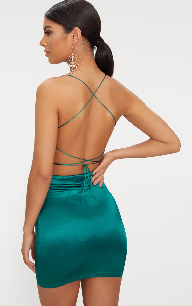 Emerald Green High Neck Strappy Back Bodycon Dress 1