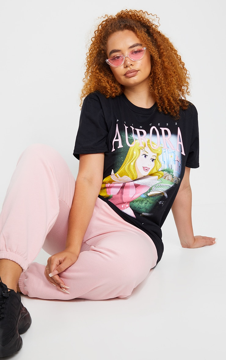 Plus Black Disney Aurora Printed T Shirt 3