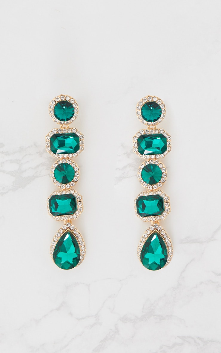 Emerald Green Chunky Diamante Line Drop Earrings 4