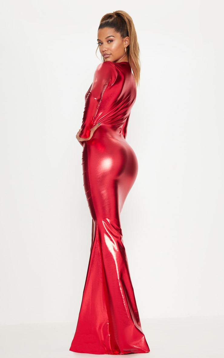 Red Metallic Ruched Maxi Dress 2