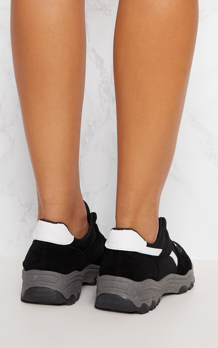 Black Lace Up Chunky Trainer 4
