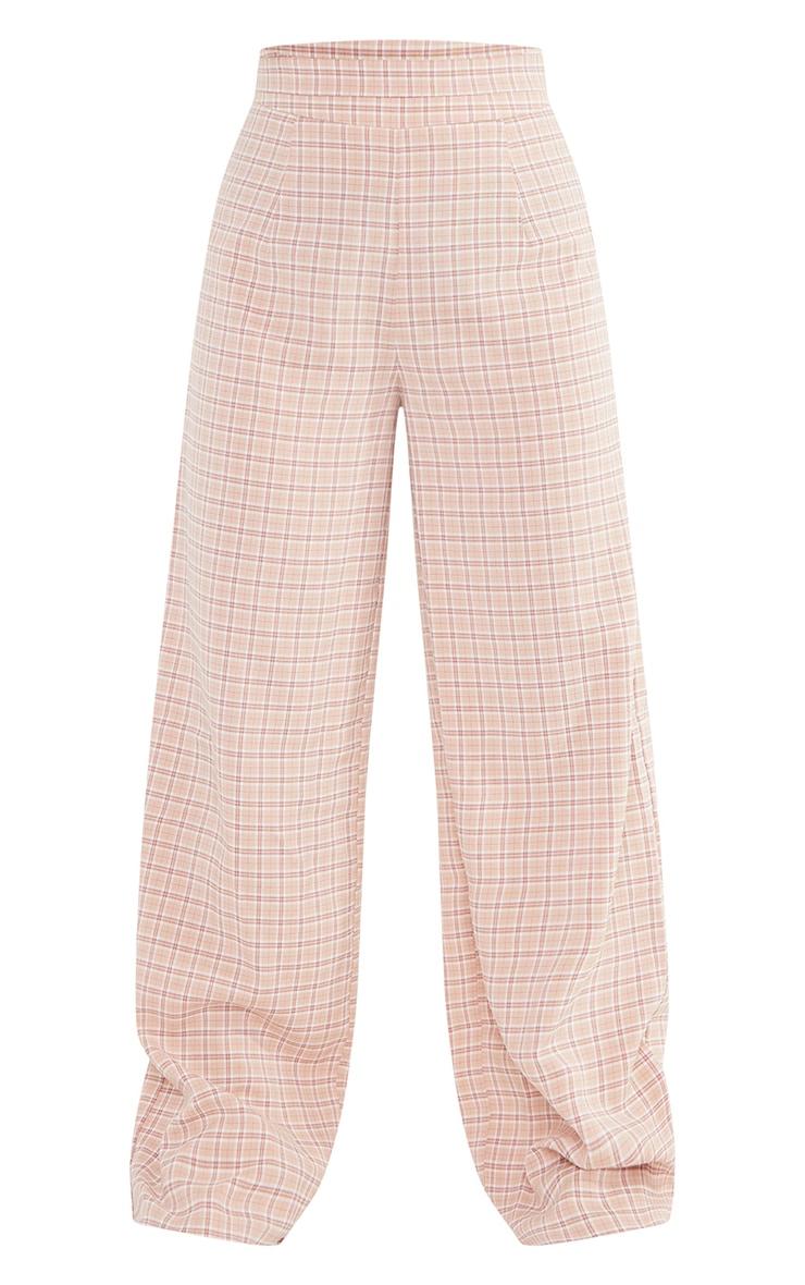 Petite Stone Check Waist Detail Wide Leg Tailored Pants 5