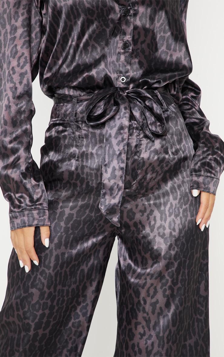 Purple Leopard Print Belted Waist Printed Wide Leg Trouser 5