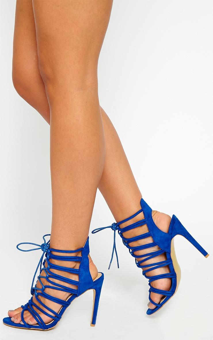 Lenore Blue Multi Strap Heels 1