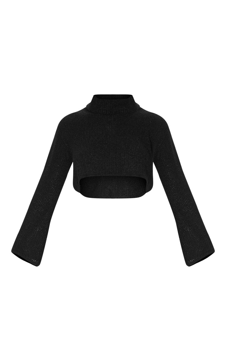 Black Boucle Crop Knitted Roll Neck Jumper 3