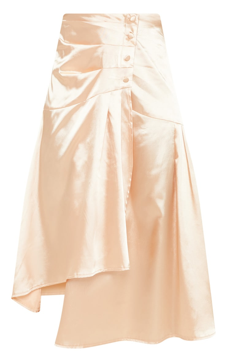 Champagne Satin Button Waist Midi Skirt 3