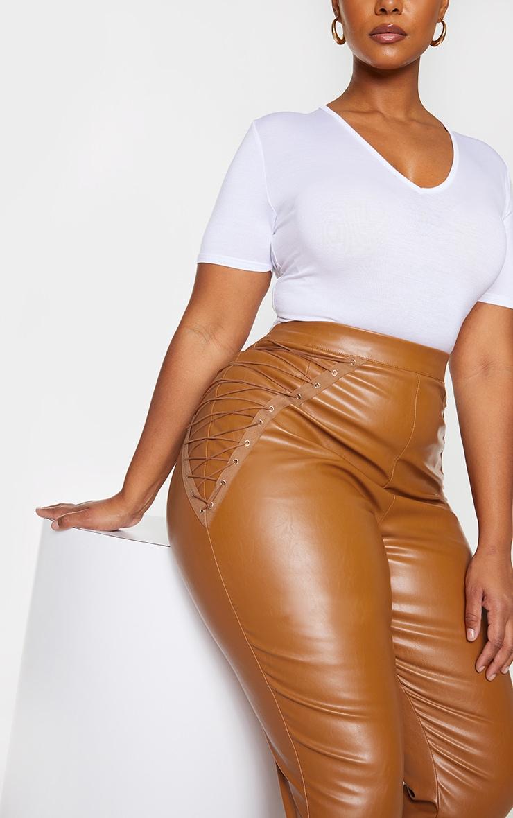 Plus Tan PU Lace Up Detail Pants 4