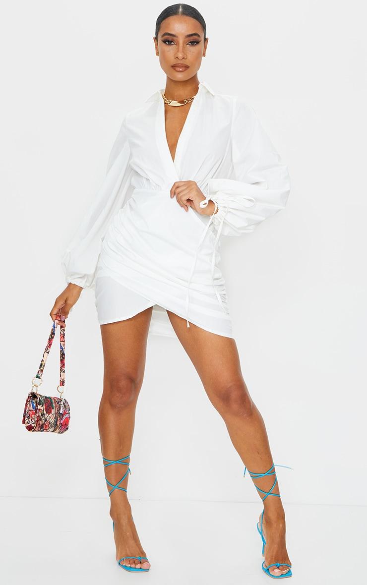 White Plunge Ruched Tie Cuff Shirt Bodycon Dress 1