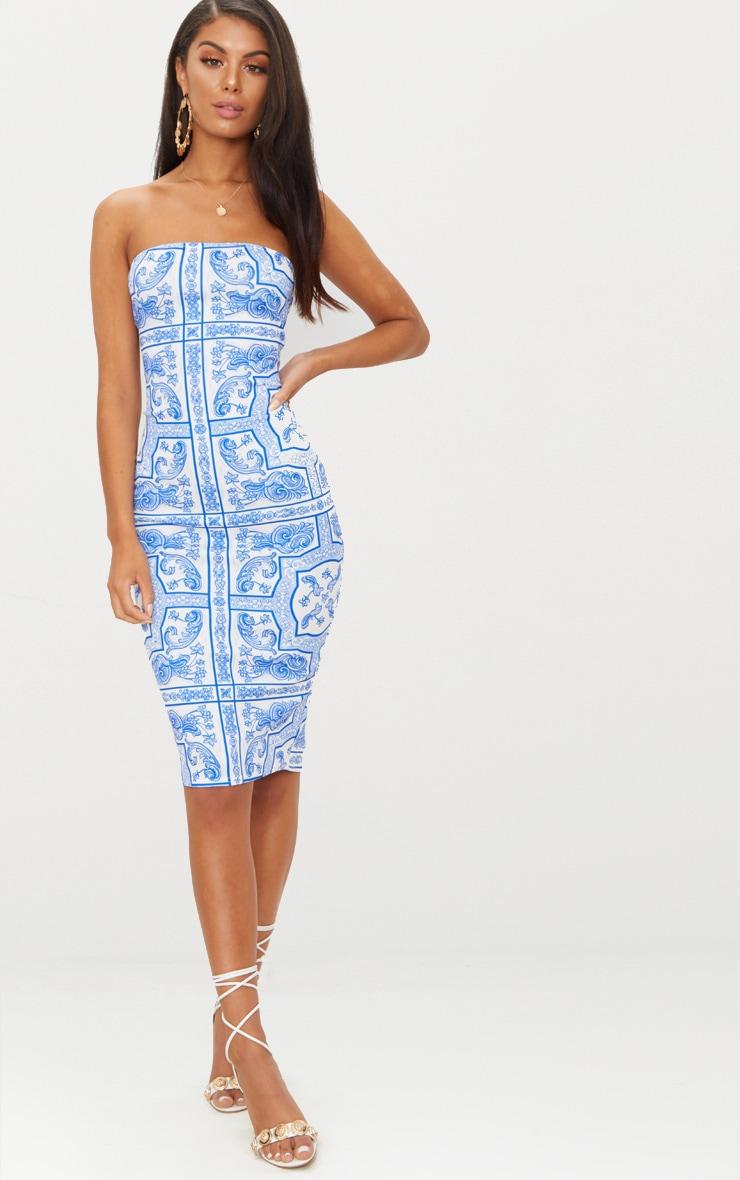 Blue Tile Print Bandeau Midi Dress 1