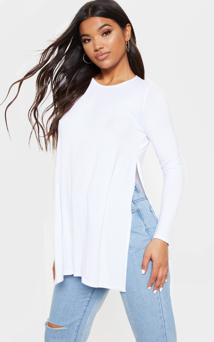 Tamsyn White Long Sleeve Side Split Top 1