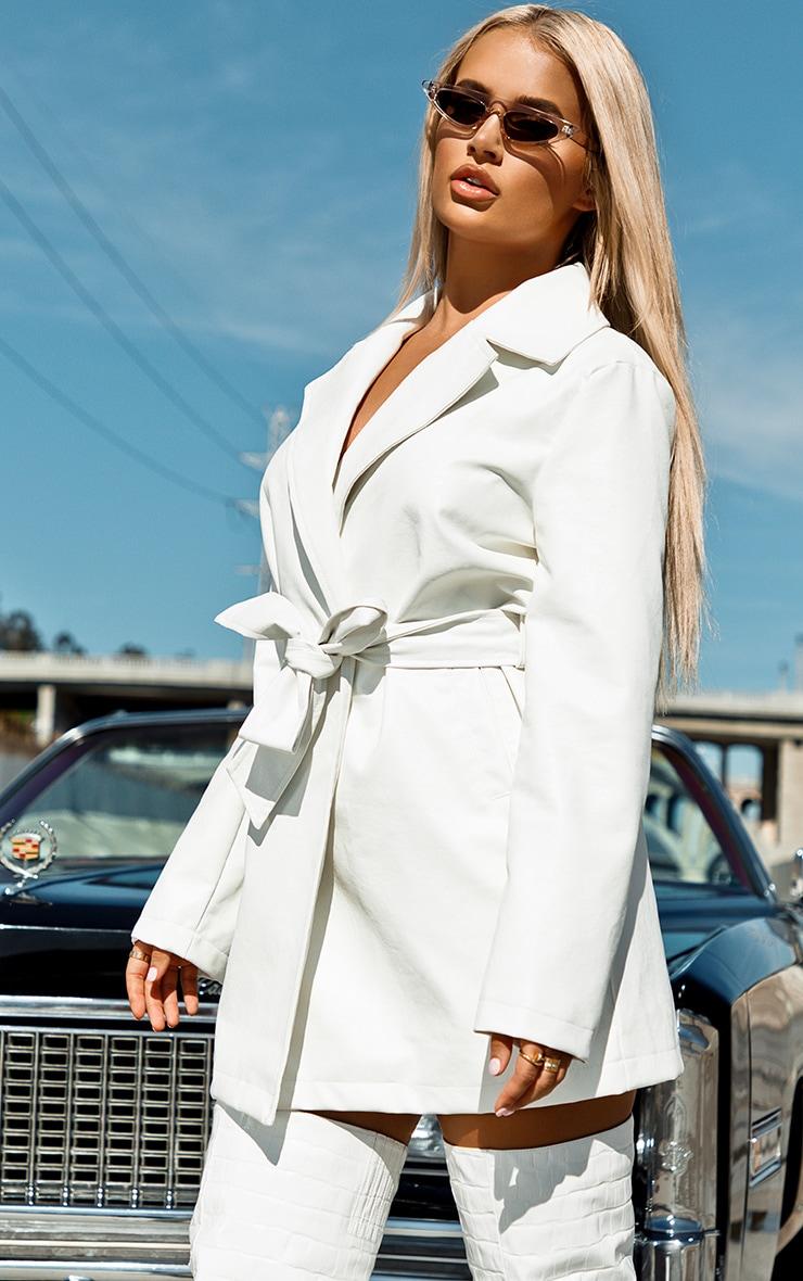 White Faux Leather Long Line Tie Waist Jacket 2
