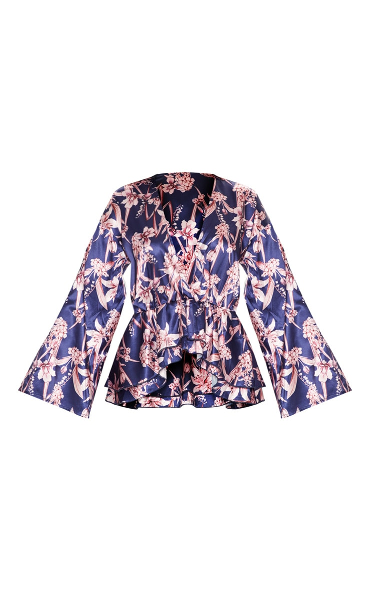 Navy Floral Flare Sleeve Top 3