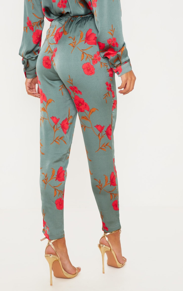 Green Floral Print Cigarette Pants 4