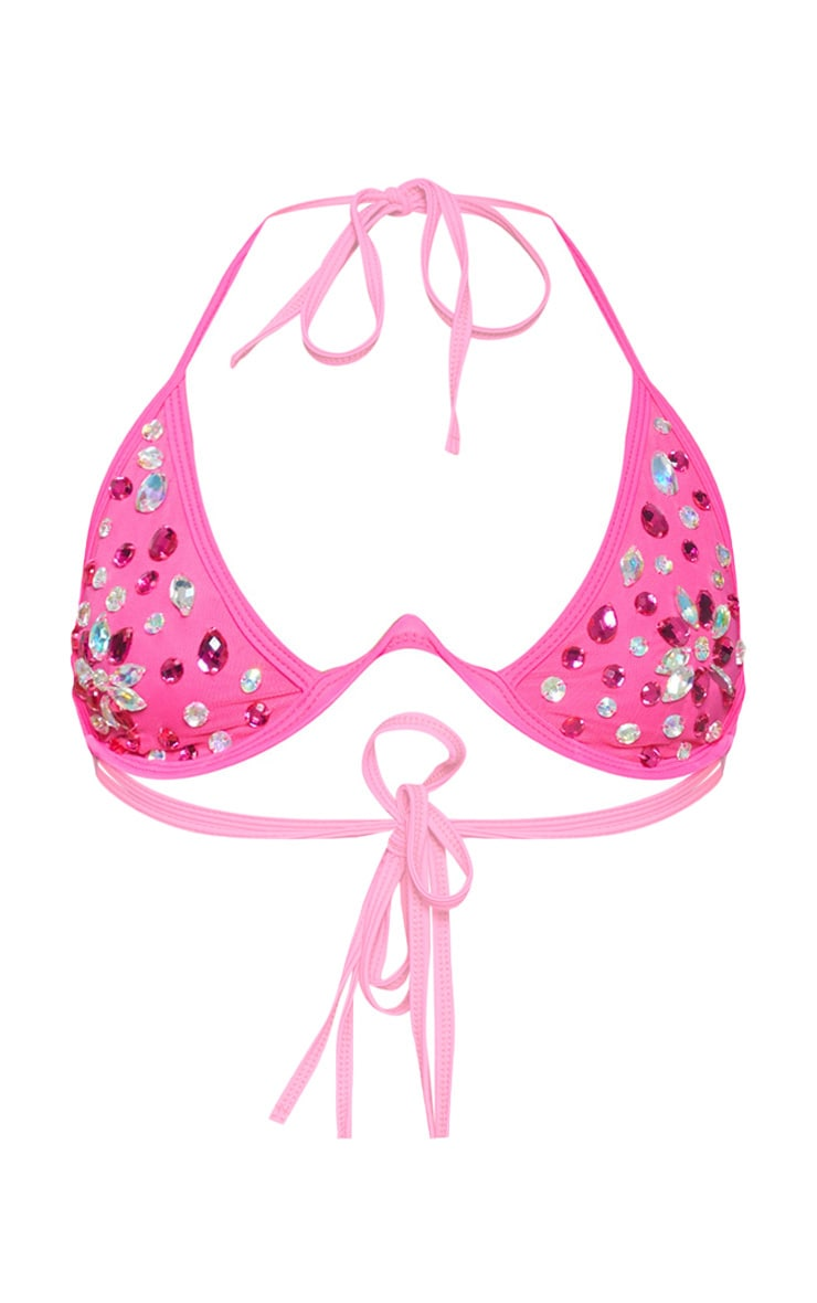 Neon Pink V Wire Jewelled Bikini Top 4