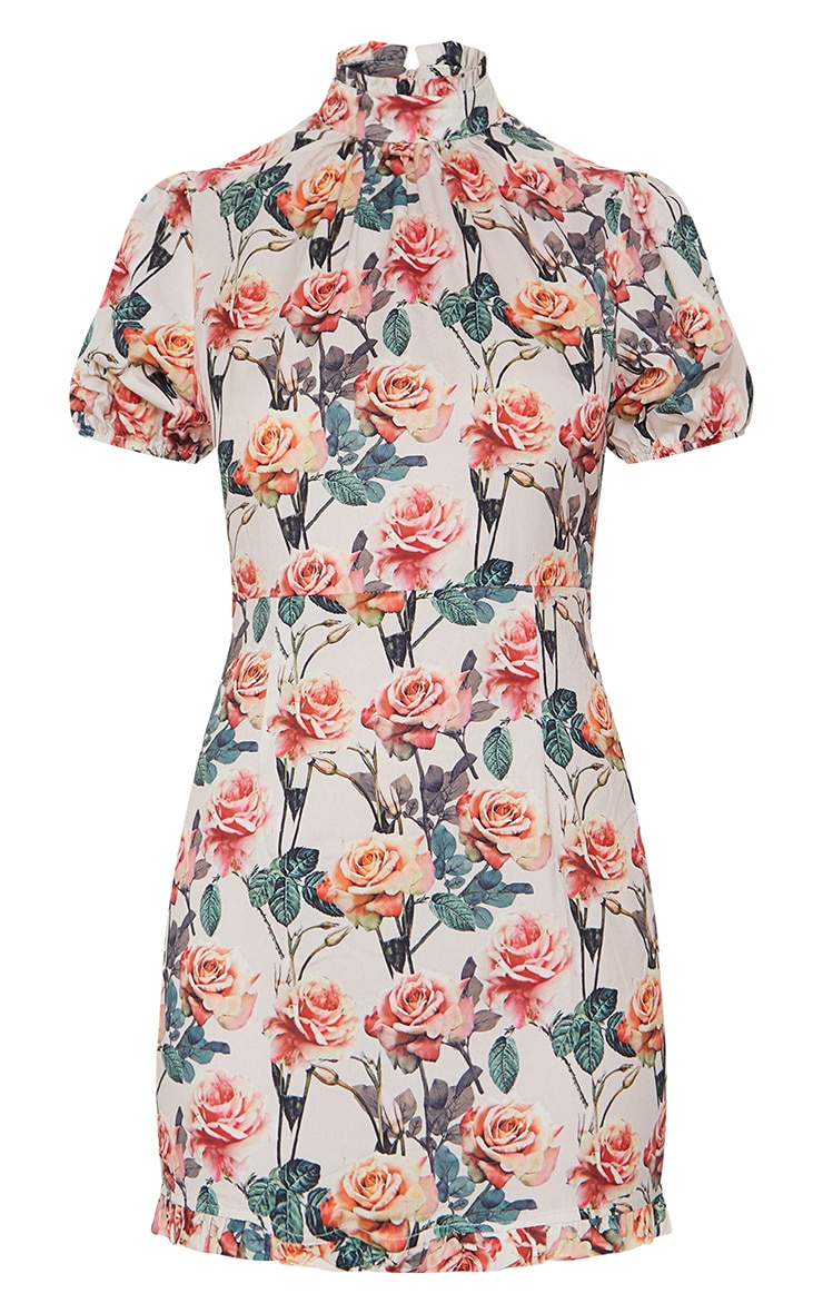 Nude Rose Print High Neck Short Sleeve Bodycon Dress 5