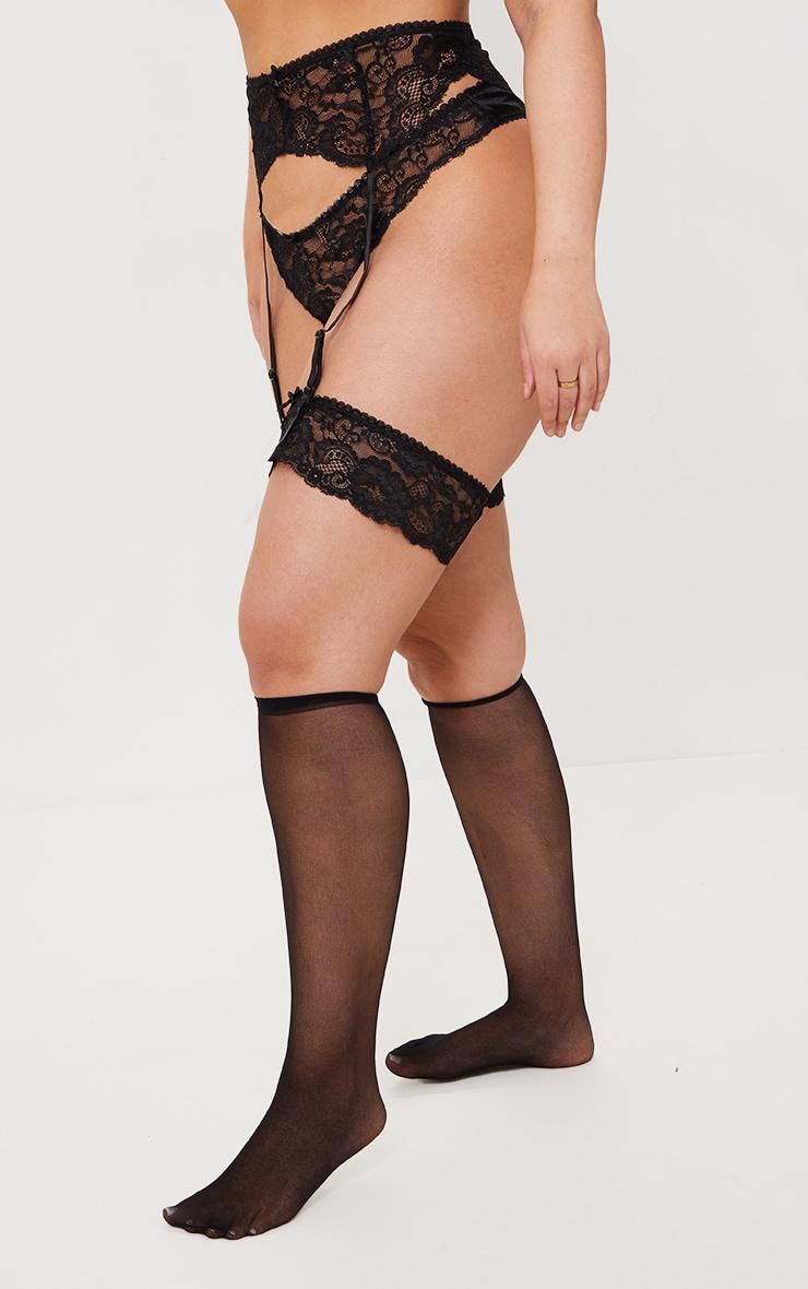 PLT Plus - Ensemble lingerie noir à porte-jarretelles, bas autofixants & culotte 3