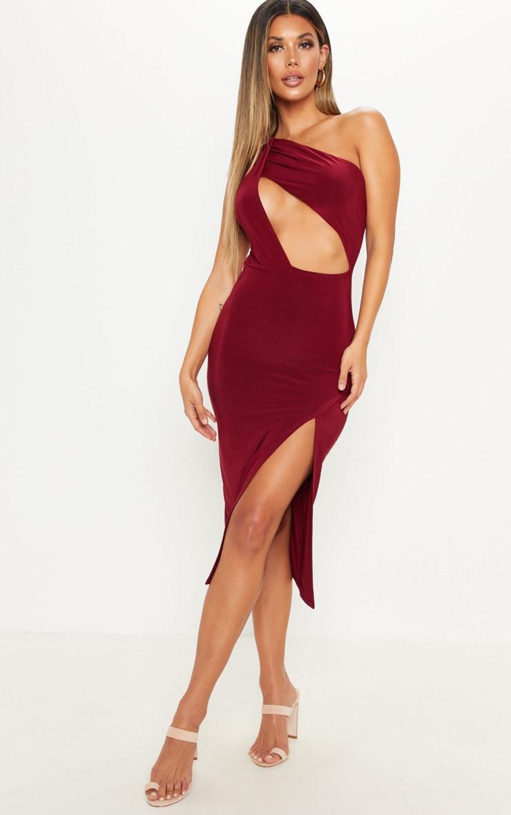 e135546af Wine Slinky One Shoulder Drape Midi Dress image 1