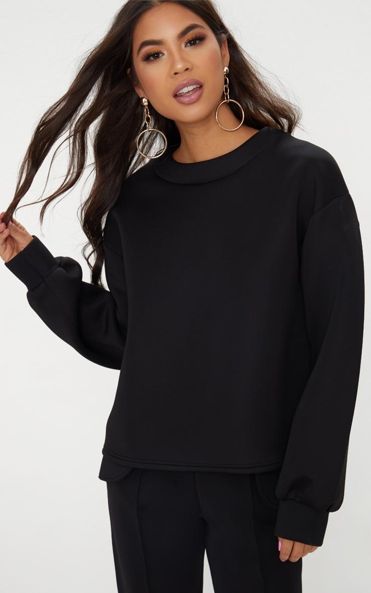 Black Scuba Boxy Sweater  1