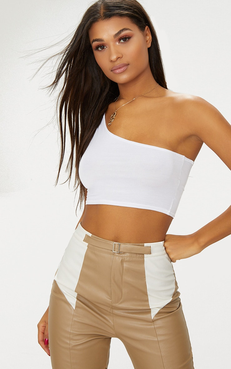 Basic White One Shoulder Jersey Crop Top 2