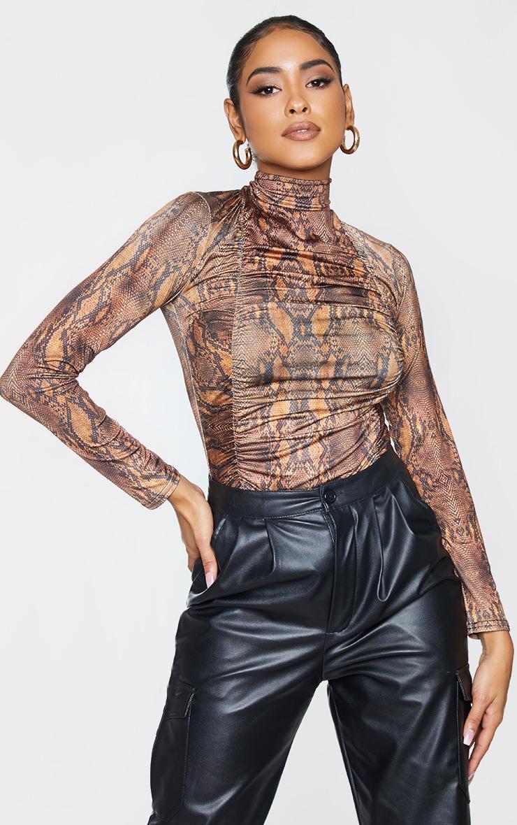 Brown Snake Print Jersey Draped High Neck Bodysuit 2