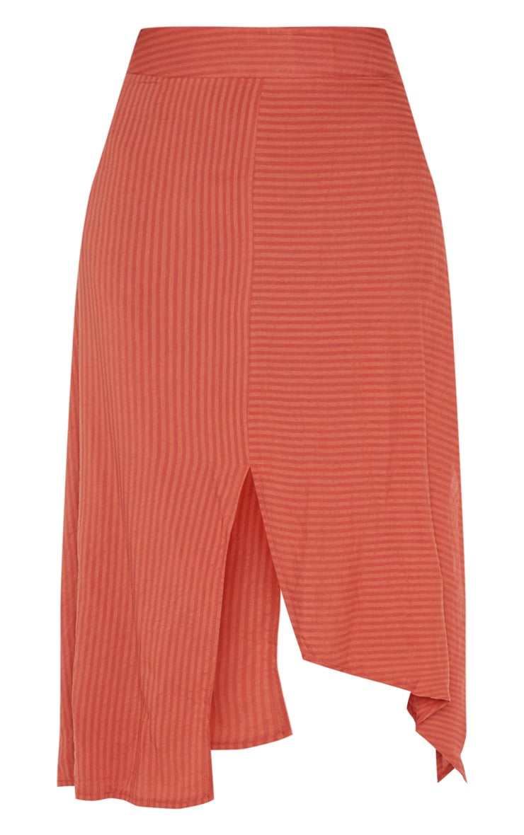 Burnt Orange Casual Midi Skirt 3