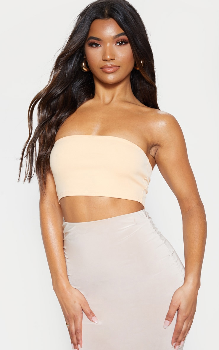 Peach Crepe Bandeau Crop Top 1